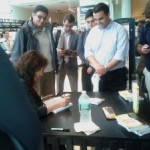 Barnes & Nobles, Washington, DC, Karen Kondazian with a happy fan, June 18, 2012