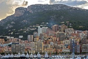 Yachts along the shore of Monte Carlo, Monaco